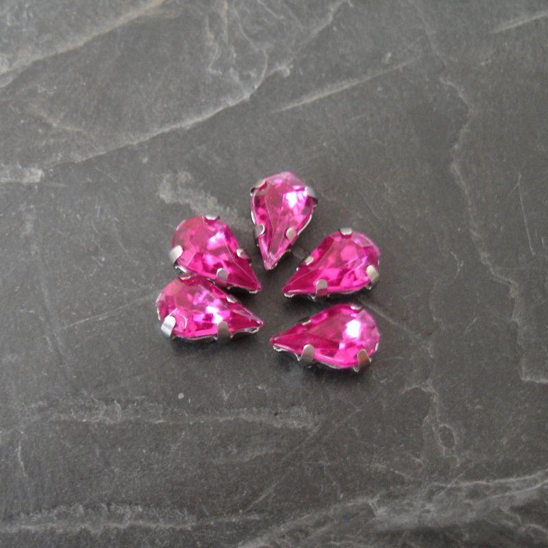 Našívací akrylové kamínky 10x6mm v kotlíku - tmavě růžové - 1 ks