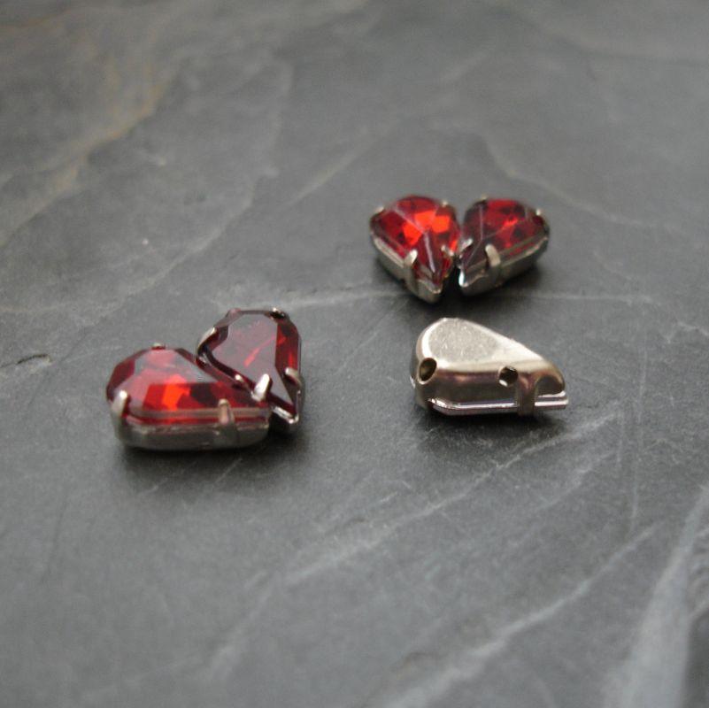 Našívací akrylové kamínky 13x8mm v kotlíku - tmavě červené - 1 ks