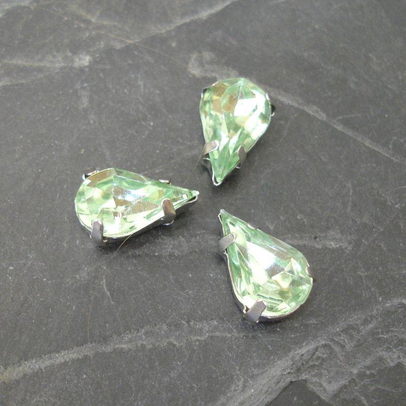 Našívací akrylové kamínky 13x8mm v kotlíku - světle zelené - 1 ks