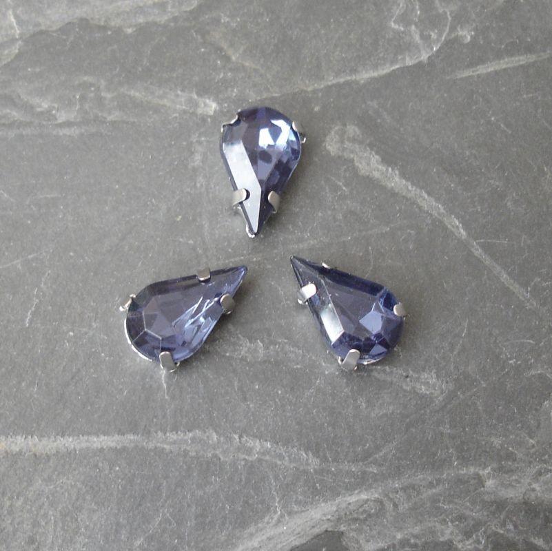 Našívací akrylové kamínky 13x8mm v kotlíku - tmavě modré - 1 ks