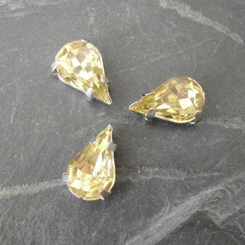 Našívací akrylové kamínky 13x8mm v kotlíku - žlutohnědé - 1 ks