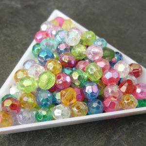 Plastové korálky imitace brusek cca 6mm - mixAB