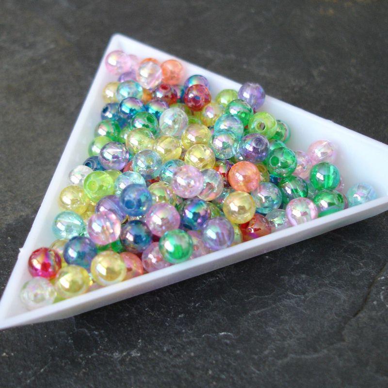 Plastové korálky kuličky cca 5mm - mix s AB efektem - 50 ks