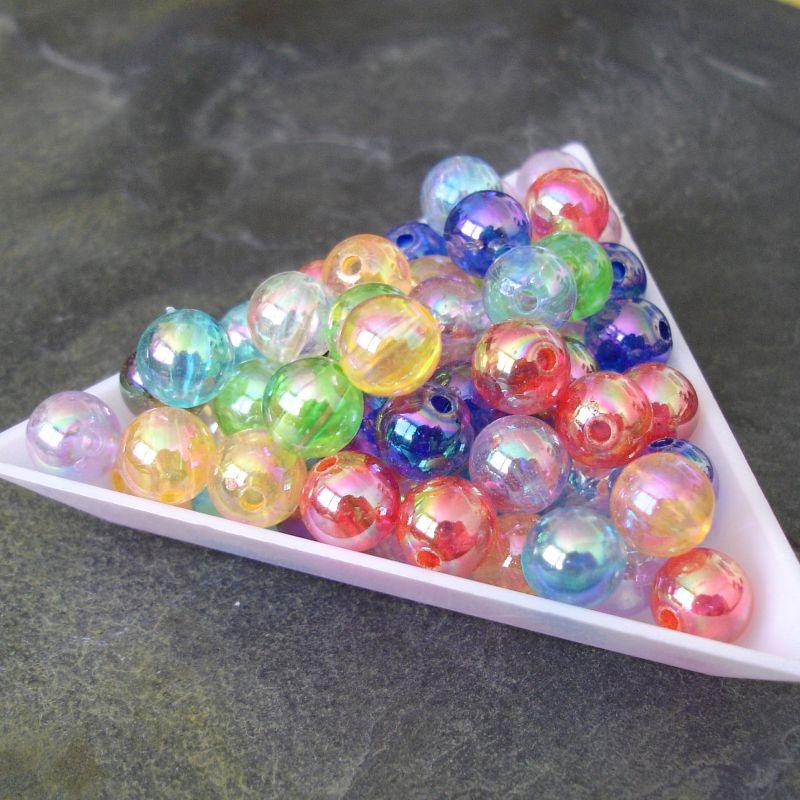 Plastové korálky kuličky cca 8mm - mix s AB efektem