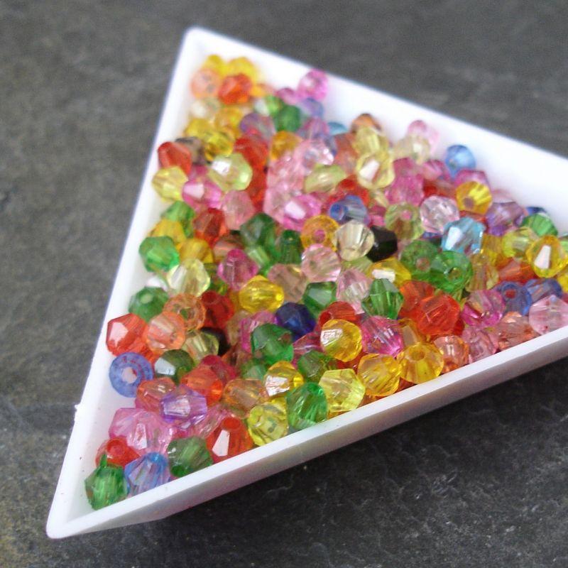 "Plastové korálky ""sluníčka"" (bicone) cca 4mm - mix - 100 ks"
