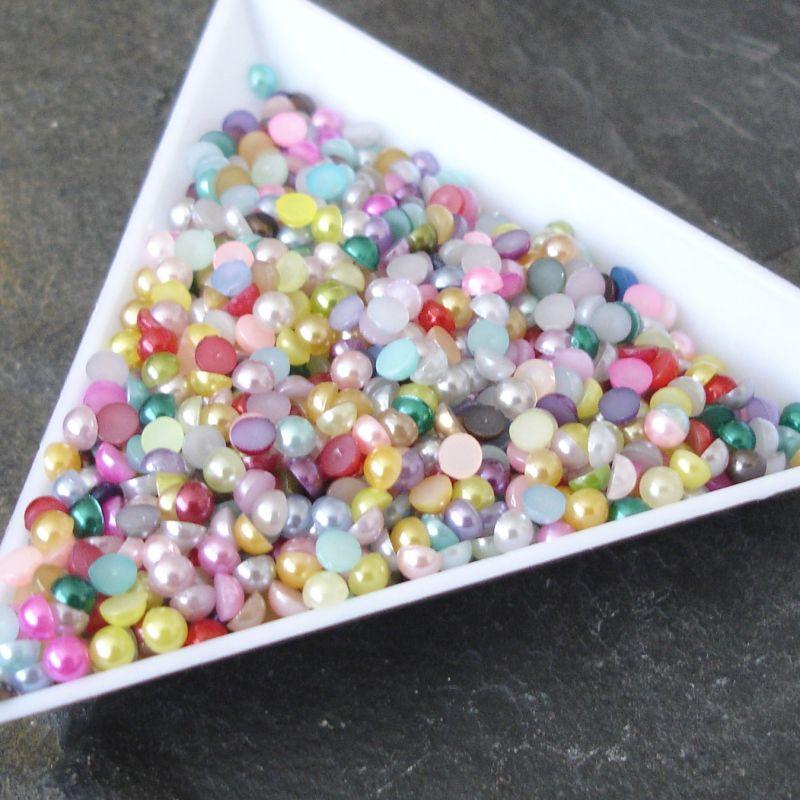 Plastové půlperle cca 3mm - mix - ks - 100 ks