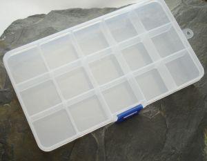 Plastový box cca 10x17,5 cm - 15 přihrádek - 1 ks