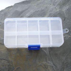 Plastový box cca 7x13x2,3cm - 10 přihrádek - 1 ks