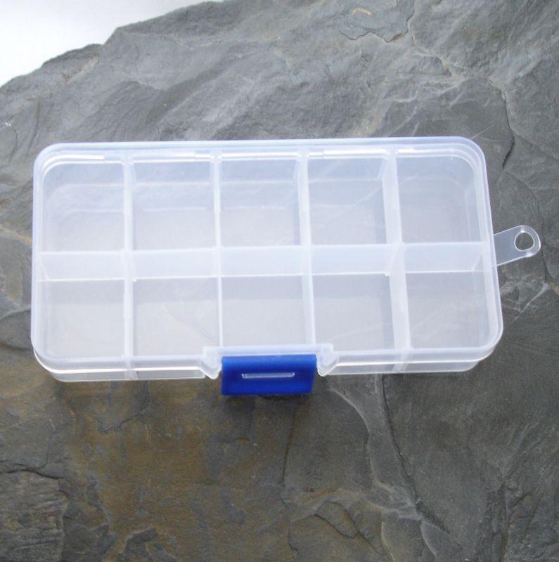 Plastový organizér cca 7x13x2,3 - 10 přihrádek - 1 ks