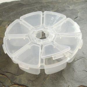 Plastový box cca 10,5x10,5x2,8cm - 8 přihrádek - 1 ks