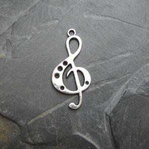 Přívěsek houslový klíč 18x36mm - starostříbrný - 1 ks