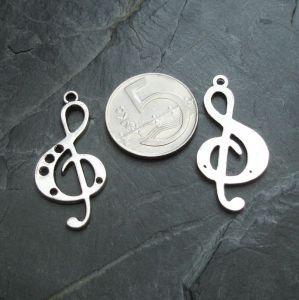 Přívěsek houslový klíč 18x36 mm - starostříbrný - 1 ks