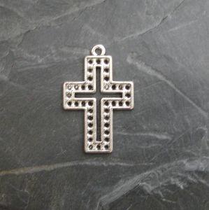 Přívěsek křížek 22x33,5mm - starostříbrný - 1 ks