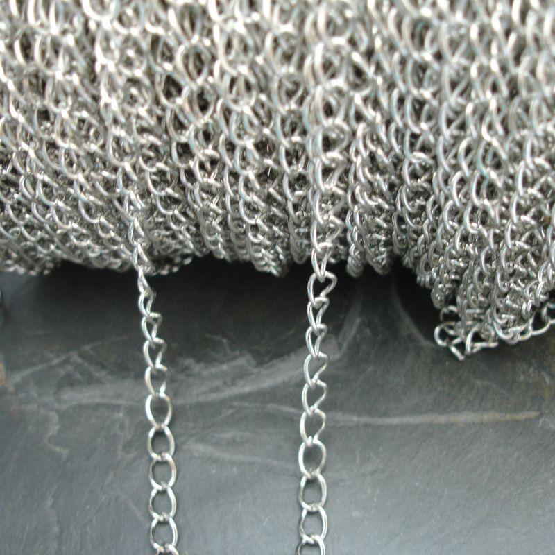 Řetízek twist cca 7x5mm - platinový - 1 m