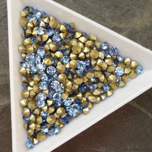 Skleněné šatony cca 3,4-3,5 mm - sv. modré - 25 ks