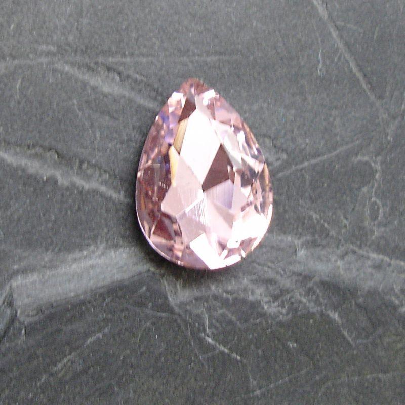 Skleněný broušený kamínek kapička 18 mm - růžový - 1 ks