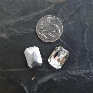 Skleněný broušený kamínek obdélník 13x18mm - čirý