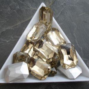 Broušený kamínek obdélník 13x18mm - žlutohnědý - 1 ks