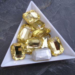 Broušený kamínek obdélník 13x18mm - žlutý