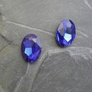 Skleněný broušený kamínek ovál 18 mm - modrý st. - 1 ks