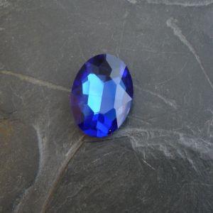 Skleněný broušený kamínek ovál 25 mm - modrý st. - 1 ks