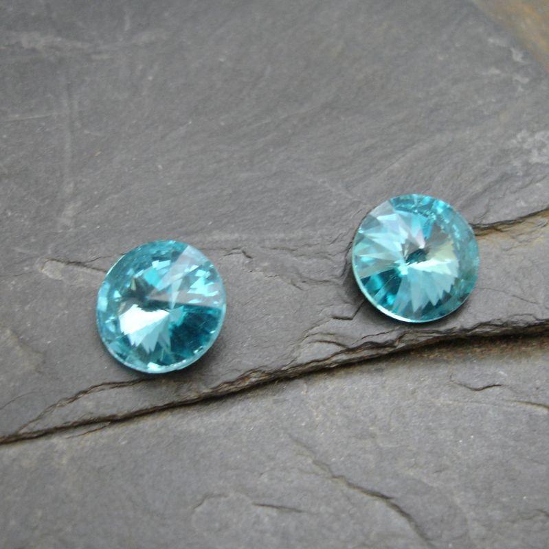 Skleněný broušený kamínek rivoli 10mm - azurová - 2 ks