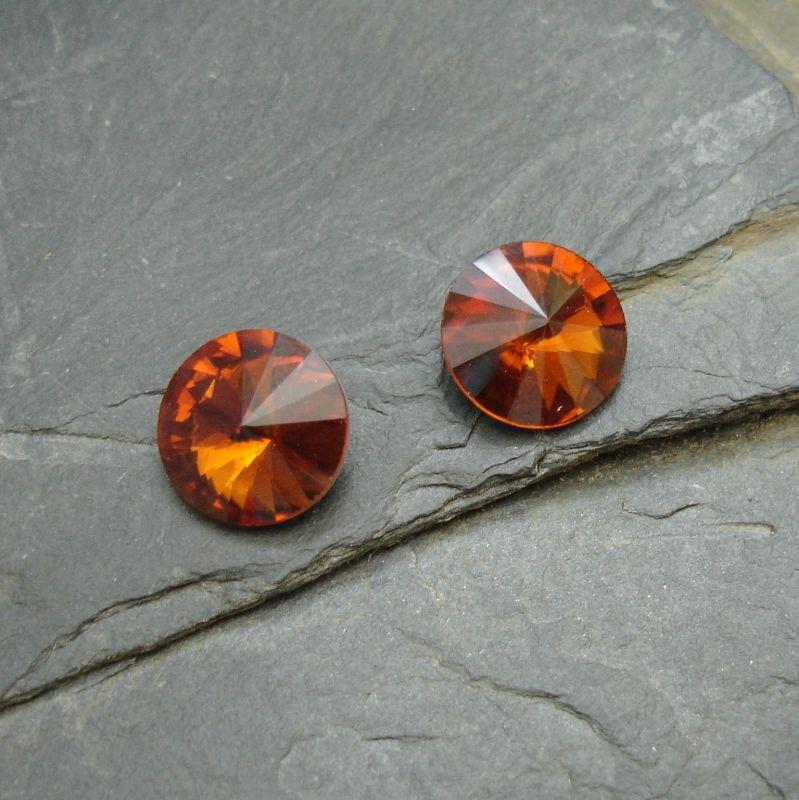 Skleněný broušený kamínek rivoli 10mm - hnědý - 2 ks