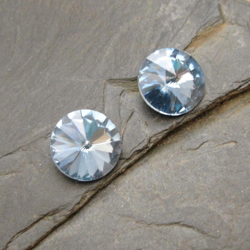 Skleněný broušený kamínek rivoli 10mm - modrý sv. - 2 ks