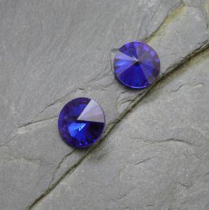 Skleněný broušený kamínek 10mm - modrý