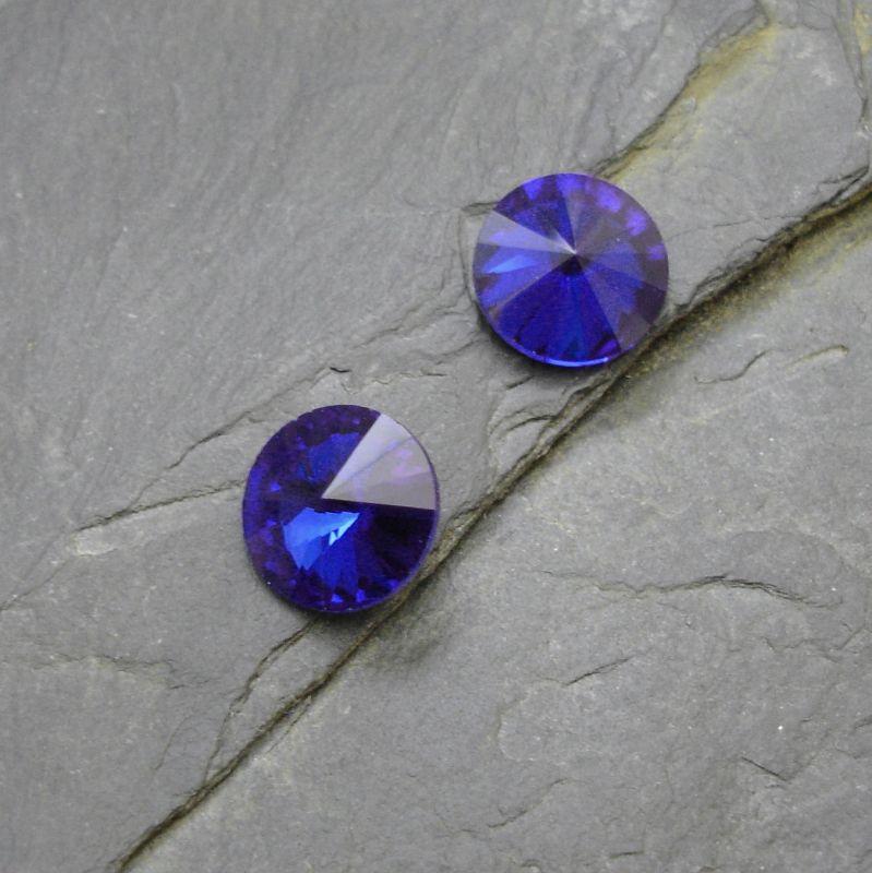 Skleněný broušený kamínek rivoli 10mm - modrý - 2 ks