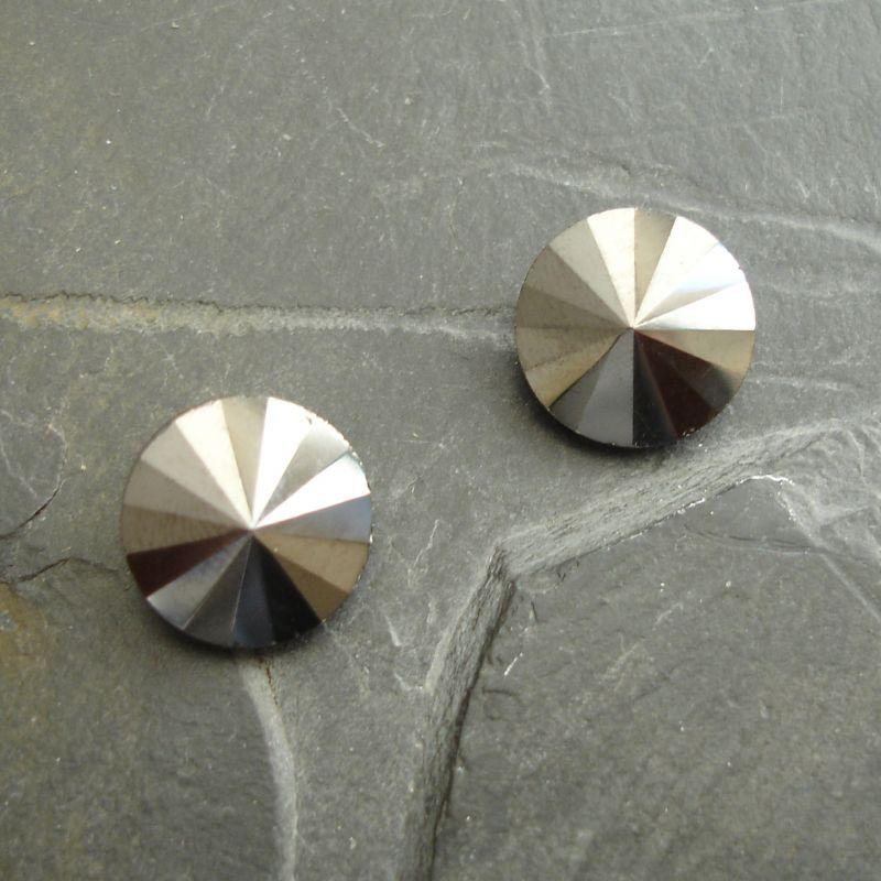 Skleněný broušený kamínek rivoli 12mm - černý antracit - 1 ks