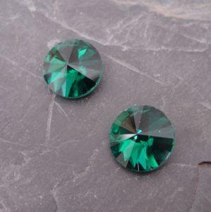 Skleněný broušený kamínek 14mm - zelený tm.