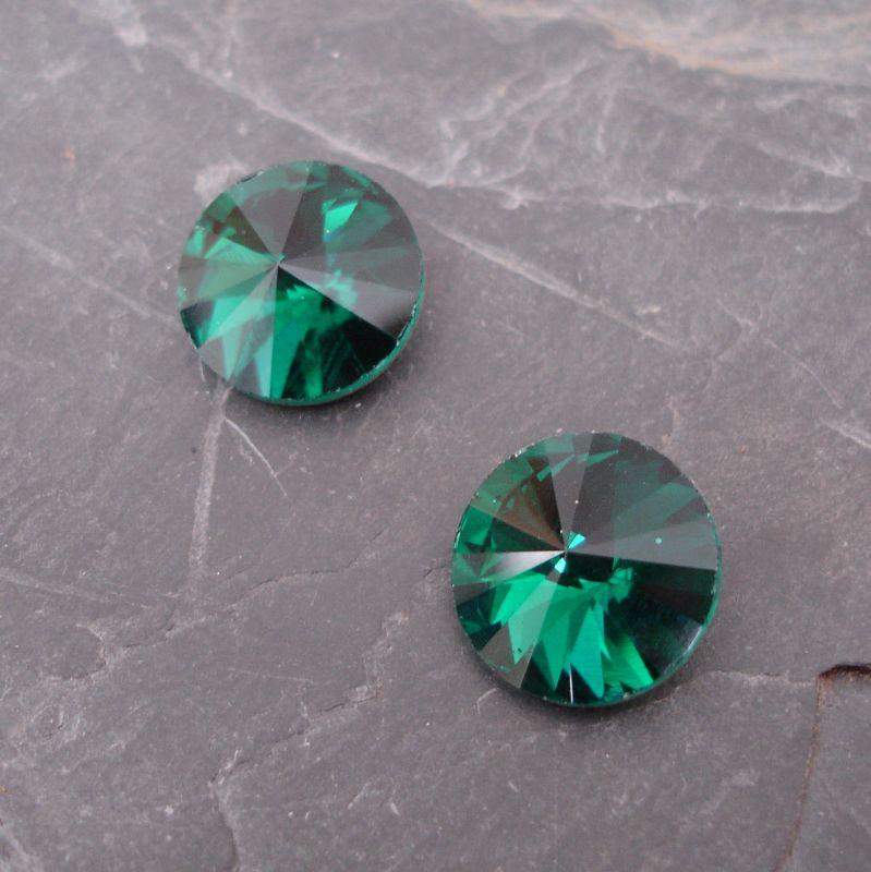 Skleněný broušený kamínek rivoli 14mm - tm. zelený - 1 ks