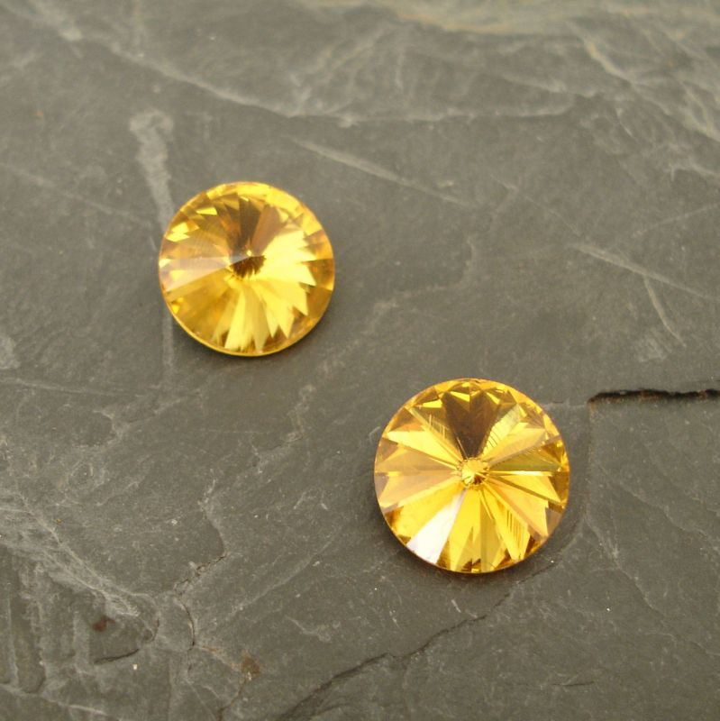 Skleněný broušený kamínek rivoli 14mm - žlutý - 1 ks