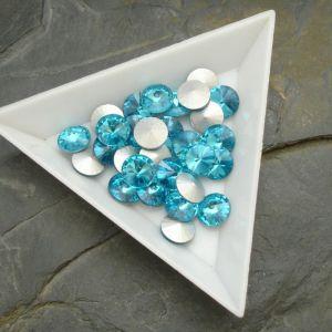 Skleněný broušený kamínek rivoli 8mm - azurový - 2 ks