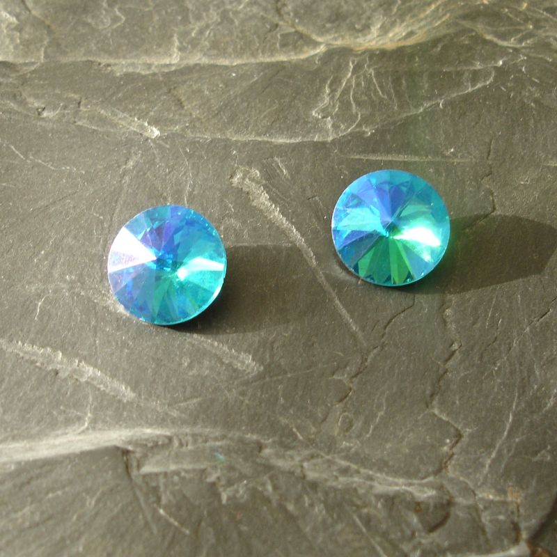 Skleněný broušený kamínek rivoli 14mm - DeepSkyBlue - 1 ks