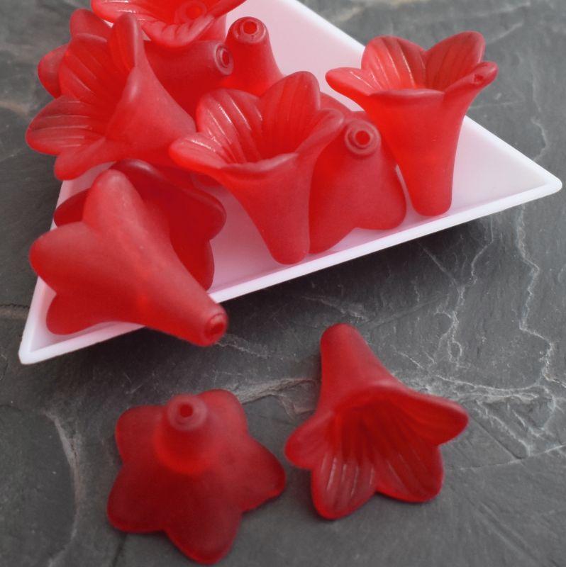 Akrylové zvonečky 22x22mm - červené - 1 ks