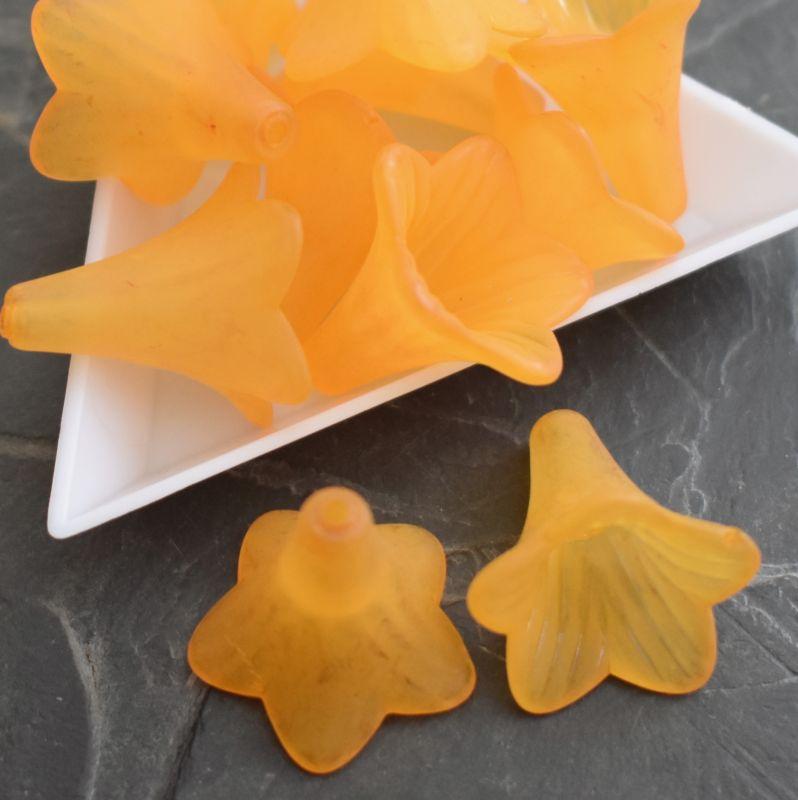 Akrylové zvonečky 22x22mm - oranžové - 1 ks