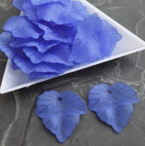 Akrylový lístek 24x22,5 mm - modrý - 3 ks
