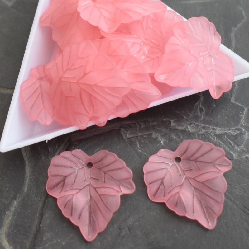 Akrylový lístek 24x22,5 mm - růžový - 3 ks
