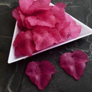 Akrylový lístek 24x22,5 mm - růžový tm. - 3 ks
