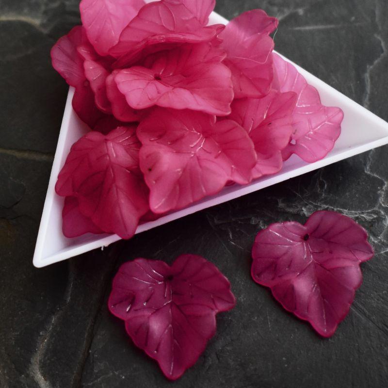 Akrylový lístek 24x22,5 mm - růžový tmavý - 3 ks
