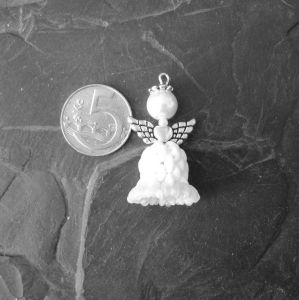 Andílek šitý z korálků - bílý - 1 ks Jelínková Martina
