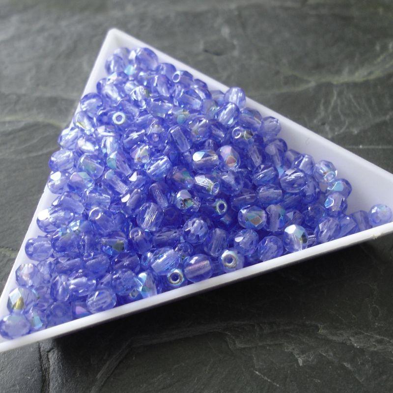 Broušené korálky 4mm - modré AB efekt - 50 ks
