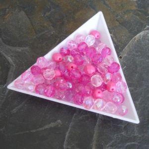 Broušené korálky 6mm - mix růžový