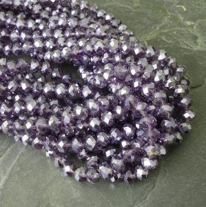 Broušené rondelky cca 8x6mm - fialové