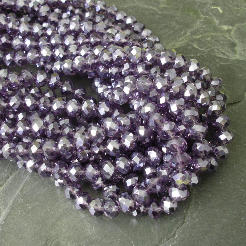 Skleněné broušené rondelky 8x6mm - fialové s listrem