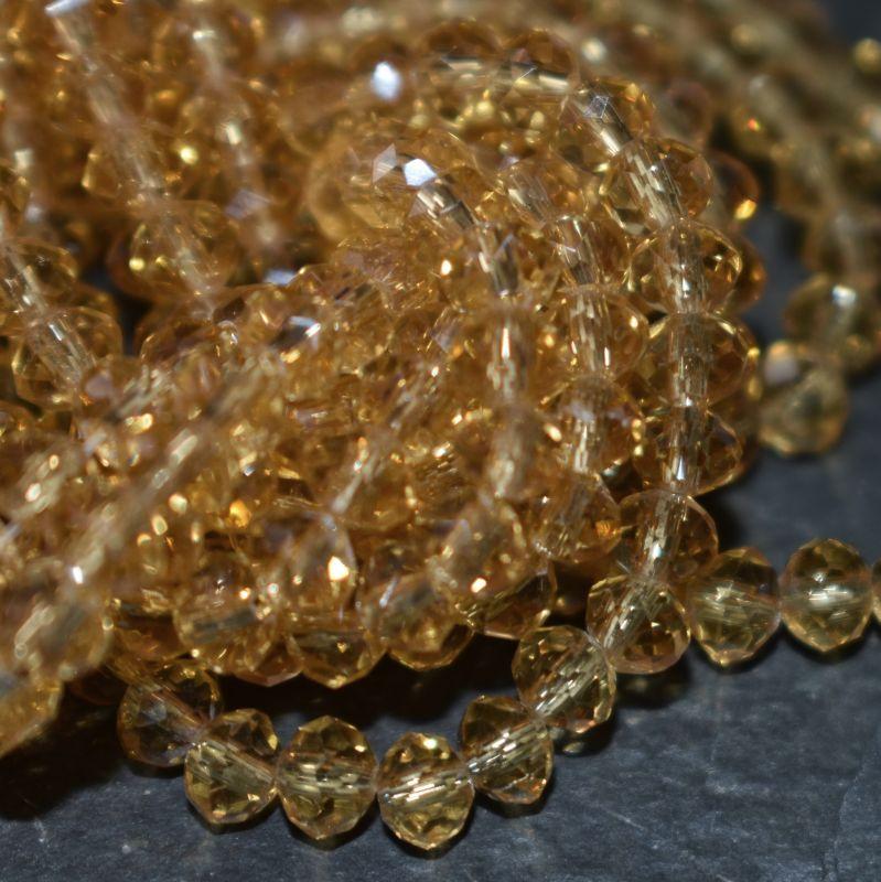 broušený korálek rondelka 4x3 mm - hnědá - topaz - 20 ks