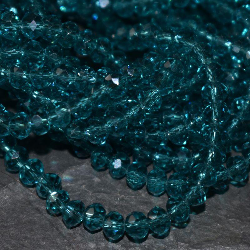 broušený korálek rondelka 4x3 mm - modrozelená - 20 ks