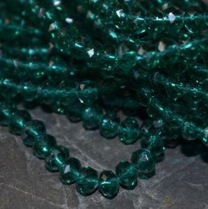 korálek rondelka 4x3 mm - zelená tm.